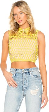 Guipure Lace Top in Lemon. - size L (also in M,S)