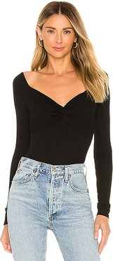 Silk Rib Front Knot Long Sleeve Bodysuit in Black. - size M (also in XS,S,L)