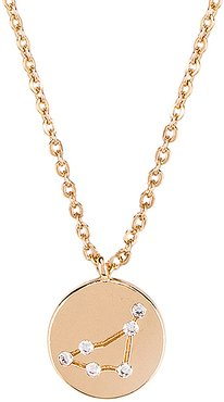 Capricorn Written in the Stars Necklace in Metallic Gold.
