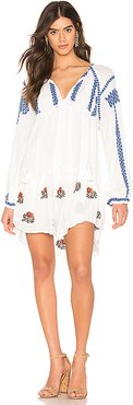 Wild Horses Embroidered Mini Dress in White. - size S (also in XS)