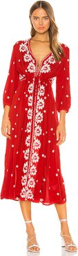 Embroidered V Maxi Dress in Red. - size M (also in XS,S,L)