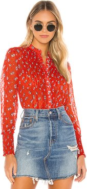 Flowers In December Blouse in Red. - size L (also in M,S)