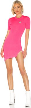 Fluorescent Asymmetrical Zip Dress in Pink. - size L (also in XS,S)
