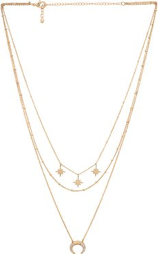 North Star Layering Necklace in Metallic Gold.