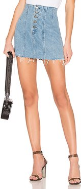 Twiggy High-Rise Mini Skirt in Blue. - size 24 (also in 28,29,30,31)