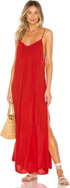 Yasmine Solid Gathered Neckline Maxi Sundress in Red. - size M (also in S,XS,L)