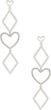 The Dotted Heart Statement Earrings in Metallic Silver.