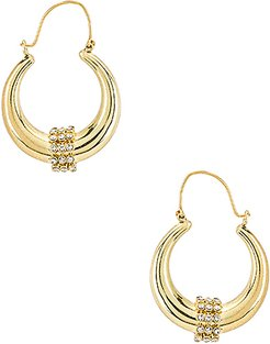 Pave Loop Tube Hoops in Metallic Gold.