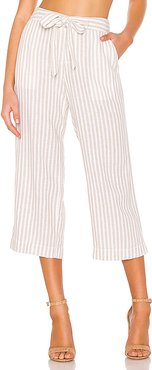 Sasha Stripe Crop Pant in Tan. - size 29 (also in 27,24,25,26,28,30)