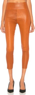 High Waist 3/4 Leather Legging in Brown. - size XS (also in L,M,S)