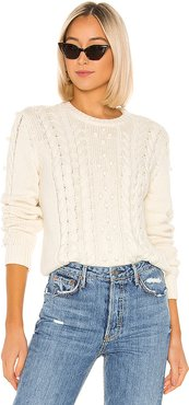 London Textured Sweater in White. - size XS (also in S,M,L)