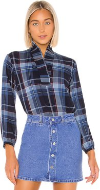 Erica Pleated Collar Blouse in Blue. - size M (also in S,XS,L)