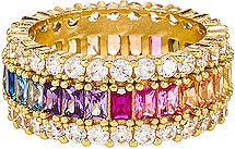 Three Row Rainbow Ring in Metallic Gold. - size 6 (also in 7,8)
