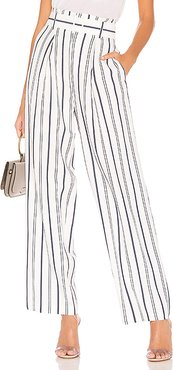 Dobby Stripe Belted Pant in White. - size 2 (also in 6)