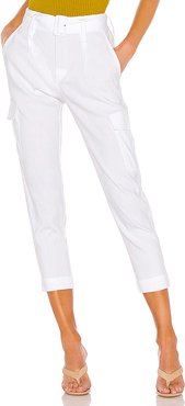 Belted Linen Pant in White. - size 6 (also in 0)