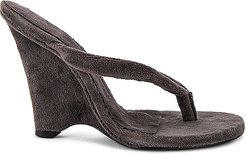 SEASON 8 Terry Cloth Wedge Thong Sandal in Charcoal. - size 37 (also in 36.5,37.5,38,38.5,39,39.5,40)