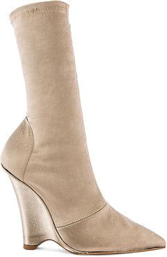 SEASON 8 Stretch Satin Wedge Ankle Boot in Taupe. - size 38 (also in 36)