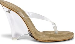 SEASON 8 PVC Wedge Thong Sandal in Tan. - size 39 (also in 37.5)