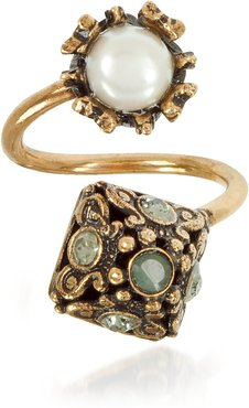 Rings Pyramid and Pearl Ring w/Gemstones