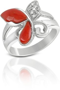 Rings Diamond and Red Coral Butterfly 18K Gold Ring