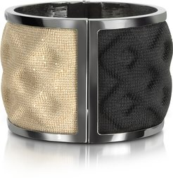 Bracelets Double Ruthenium Plated Brass and Black/Gold Viscose Bangle