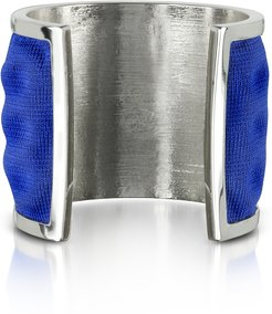 Bracelets Palladium Plated Brass and Electric Blue Viscose Bangle