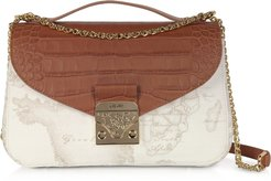 Handbags Jolie White Coated Canvas & Embossed Croco Leather Shoulder Bag