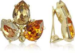 Earrings Amber Crystal Clip-On Earrings