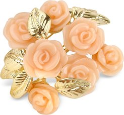 Brooches & Pins Pink Roses Gold Plated Brooch
