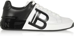 Designer Shoes, White & Black Leather Lace up Women's Sneakers
