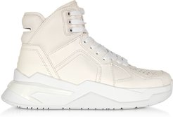 Designer Shoes, White B-Ball Calfskin Leather Sneakers