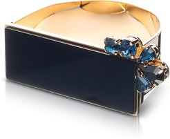 Bracelets Arlequin Golden Brass Cuff w/Black Top and Two Tone Crystals
