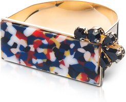 Bracelets Arlequin Golden Brass Cuff w/Multicolor Top and Black Crystals