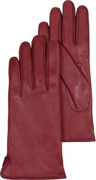 Designer Women's Gloves, Burgundy Leather Women's Gloves w/Cashmere Lining