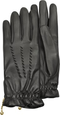 Designer Women's Gloves, Women's Embroidered Black Calf Leather Gloves