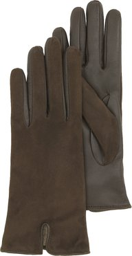 Designer Women's Gloves, Brown Touch Screen Leather Women's Gloves