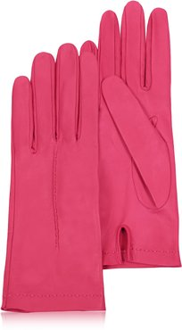 Designer Women's Gloves, Women's Hot Pink Unlined Italian Leather Gloves