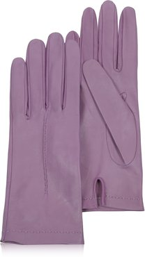 Designer Women's Gloves, Women's Purple Unlined Italian Leather Gloves