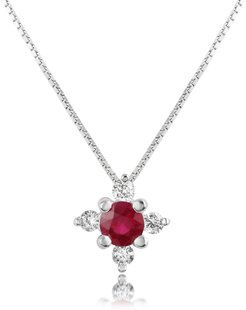 Necklaces Diamond and Ruby Flower 18K Gold Pendant Necklace