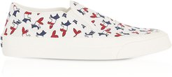 Designer Shoes, All-Over Tricolor Fox Slip-On Sneakers
