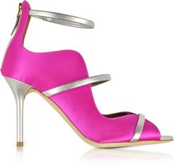 Designer Shoes, Mika 85 Fuchsia Satin and Metallic Leather High Heel Sandals