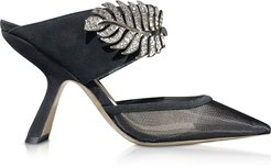 Designer Shoes, 90mm Monstera Mesh and Suede Mules