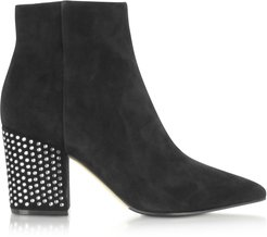 Designer Shoes, Royal Black Boots w/ Silver Crystals Covered Mid-heels