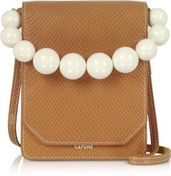 Designer Handbags, Caramel Leather Bellows Crossbody Bag