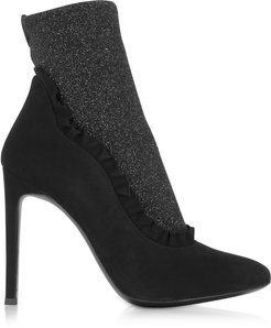 Designer Shoes, Black Suede and Glitter Stretch Fabric High Heel Booties