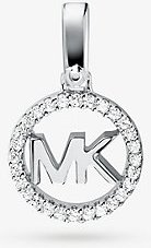 Precious Metal-Plated Sterling Silver Pave Logo Charm