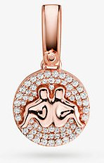 14k Rose Gold-Plated Sterling Silver Pave Gemini Zodiac Charm