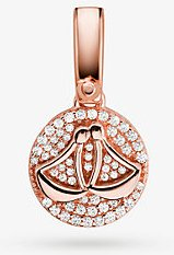 14k Rose Gold-Plated Sterling Silver Pave Libra Zodiac Charm
