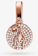 14k Rose Gold-Plated Sterling Silver Pave Scorpio Zodiac Charm