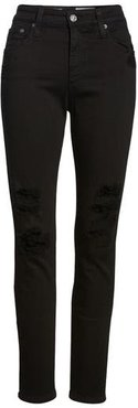 The Farrah High Waist Ankle Skinny Faux Leather Pants, Size 28 - Black